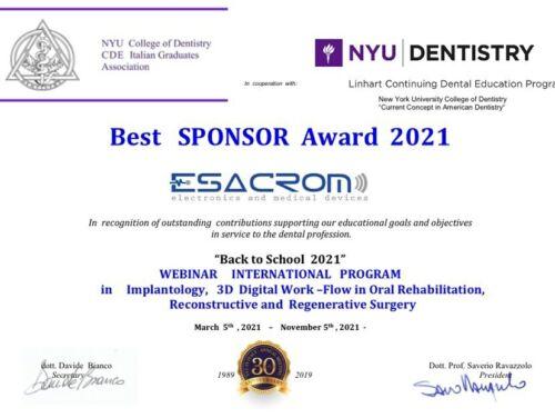 "WEBINAR ""BACK TO SCHOOL 2021″NYU-BEST SPONSOR AWARD"